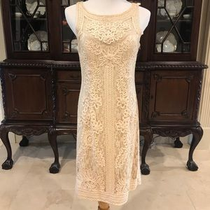 NWOT SUE WONG NOCTURNE CREAM EMBROIDERED DRESS